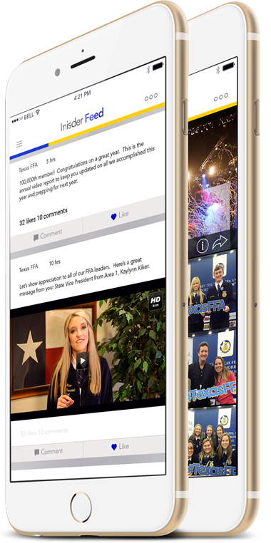 Smartphone showing Texas FFA app